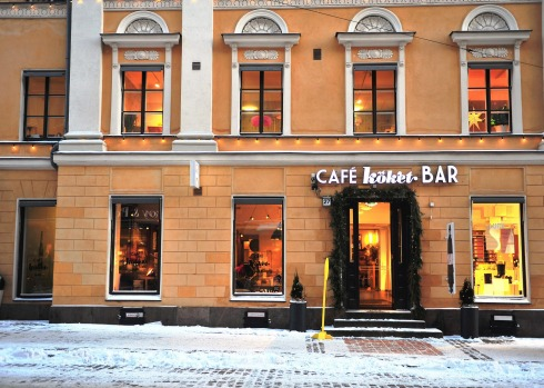 GC0PMC HELSINKI, FINLAND - JANUARY 4: View of the street in city centre of Helsinki on January 4, 2016.. Image shot ...