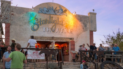 Starlight Theatre restaurant and saloon in the town of Terlingua, which is a magnet for drifters and dreamers.