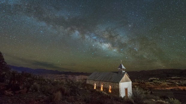 Terlingua Ghost Town Church in a long-abandoned mining town  under the Milky Way.