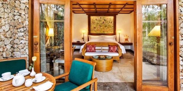 A luxury lanai room at Oberoi Bali.