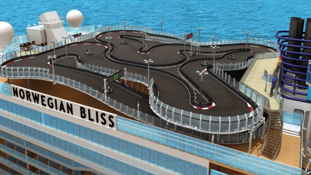 Passengers can get their fill of speed on the go-kart track.
