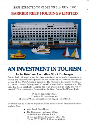 An advertisement for potential shareholders in 1986.