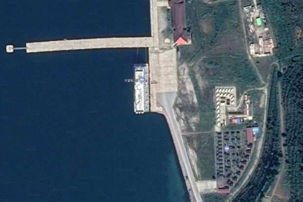 The Floating Hotel in North Korea, taken from Google Maps.