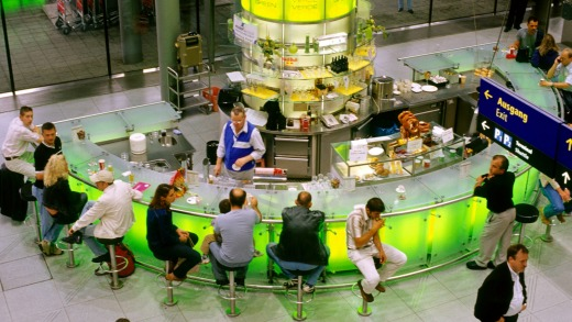 Airport bars are popular spots for passengers who enjoy a pre-flight drink.