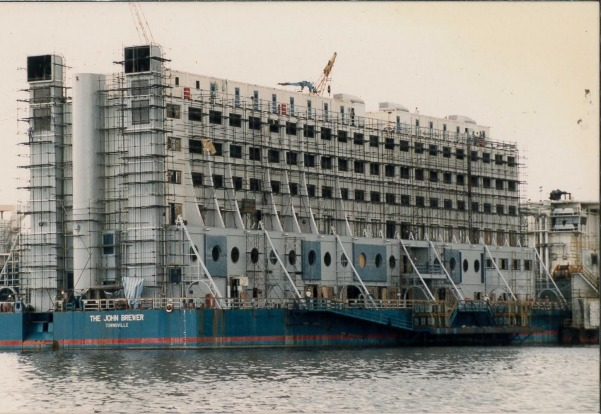 The world's first floating hotel – the seven-storeys and 200 rooms, complete with tennis court, helipad and swimming pool.