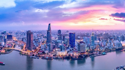 The Ho Chi Minh City skyline and Saigon River.