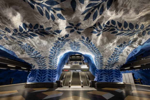 Stockholm, Sweden: Many of Stockholm's stations look like elaborately painted caves, and the Swedish capital's one ...