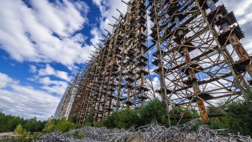 Former military Duga radar system in Chernobyl Exclusion Zone, Ukraine.