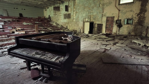 An abandoned concert hall in Pripyat, Chernobyl.