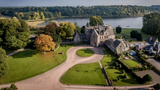 Aerial View of the gardens and lake of Castle Leslie Estate.