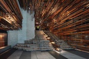 The grand staircase at Ovolo Nishi in Canberra.