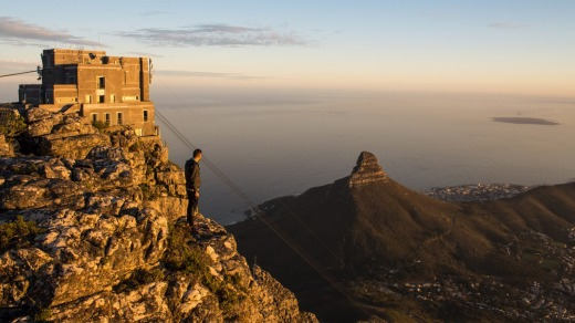 Looking out over Cape Town and Lion's Head from Table Mountain.