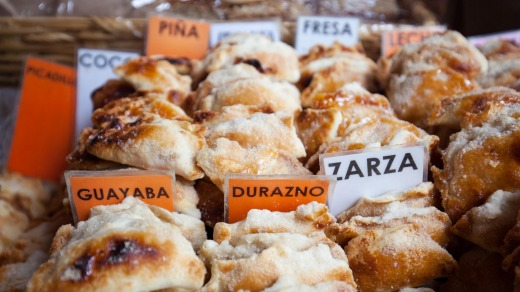 Small turnovers in a variety of flavours sold near the Plaza Grande in Patzcuaro, Michoacan, Mexico.