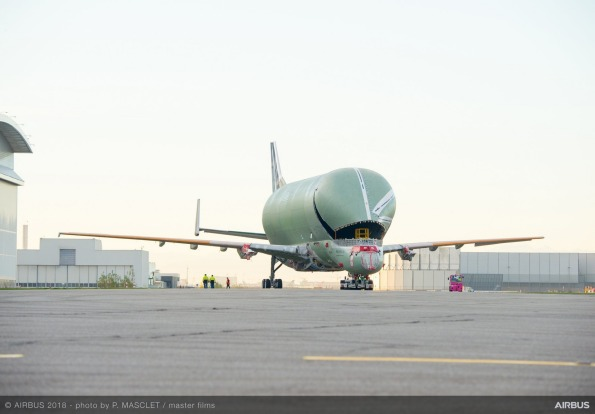 The first structurally complete Airbus BelugaXL super transporter ahead of having its two jet engines installed.