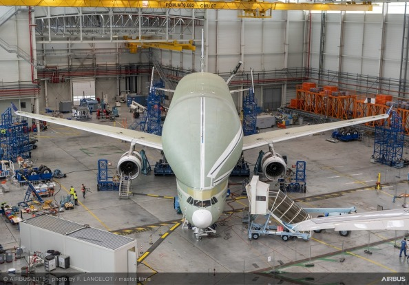The BelugaXL during its ground vibration testing.