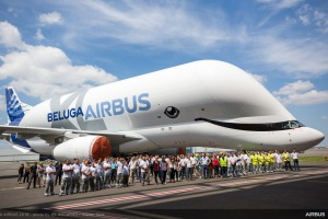 Airbus unveils its new Beluga aircraft, the BelugaXL, with whale livery.