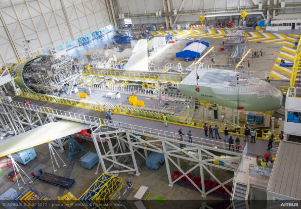The Airbus BelugaXL super transporter during its construction process at Toulouse-Blagnac in southwestern France, which ...