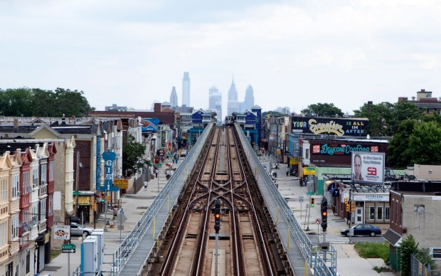PHILADELPHIA, USA: The latter section of the Market-Frankford Line in Philadelphia also runs above ground and passes a ...