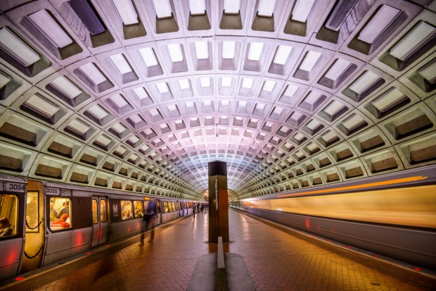 Washington DC: The curving concrete tunnel roofs, made up of tessellated squares, are defined by their lack of ...