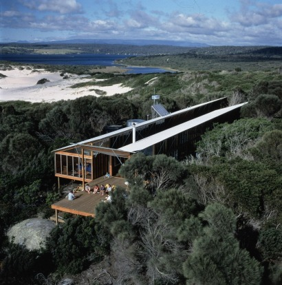 Despite being pretty much the only structure for miles around, the Bay of Fires Lodge isn't easy to see. It's made of ...