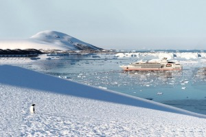 Ponant Le Lyrial is a striking contemporary counterpoint of the Antarctic landscape.