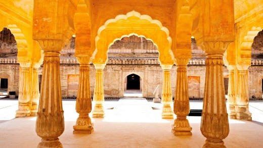 The Courtyard Of The Amber Fort Jaipur Rajasthan India.
