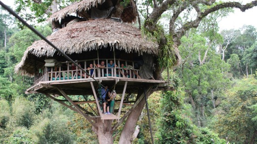 At The Gibbon Experience in Laos travellers stay in sky-high accommodation.