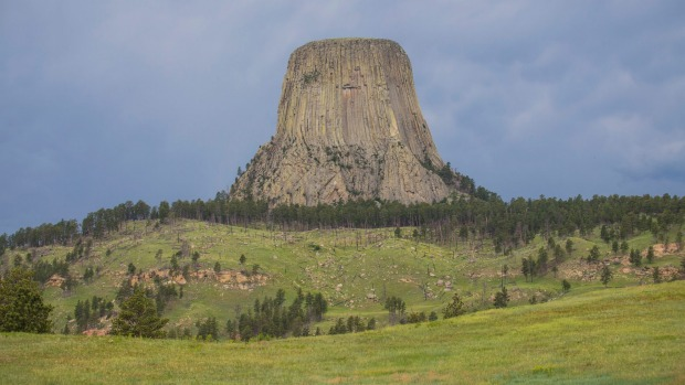 Clouds loom over Wyoming's best known national monument Devils Tower.