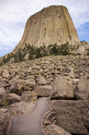 A boulder field - fallen columns - at the base of Devil's Tower.
