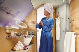 An Emirates A380 first class bathroom.