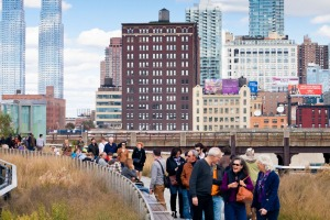 Walking the High Line in New York.