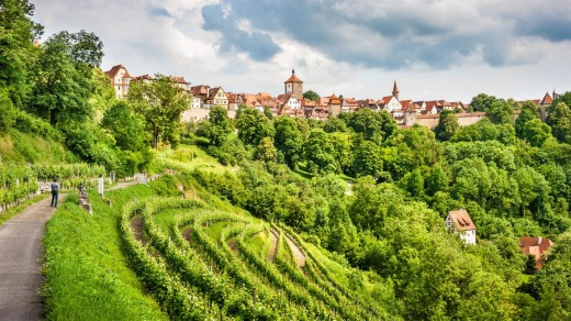 The historic town of Rothenburg ob der Tauber, Franconia, Bavaria.