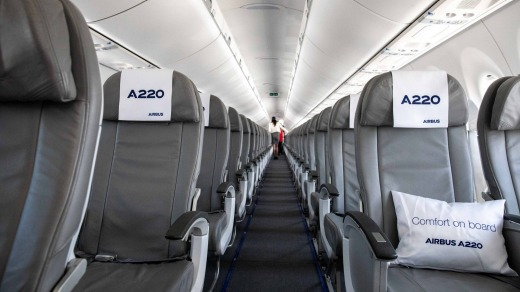 The interior of the Airbus A220.