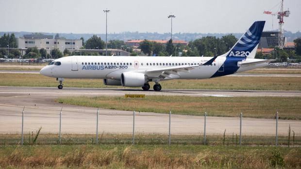 A new Airbus A220 single-aisle aircraft on the tarmac in Toulouse, France during the unveiling of its new name. ...