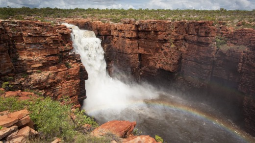 Western falls on the King George River in flood in the remote North Kimberley, Western Australia.