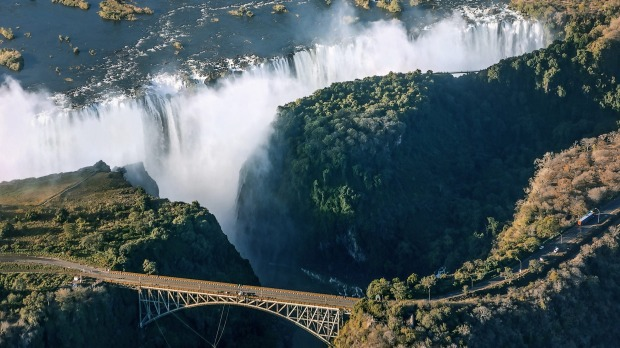 Victoria falls is the largest curtain of water in the world (1708 m wide).