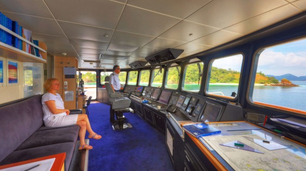 View from the bridge of Coral Discoverer.