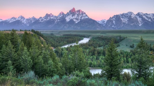 Sunrise at Grand Teton, Wyoming.