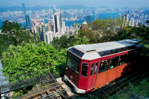 The Peak Tram takes visitors to the highest point on Hong Kong Island.