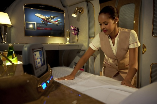 Flight attendants bring a mattress and bedclothes when you wish to sleep.