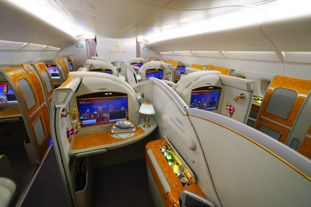 There are 14 first-class suites on the upper deck of the A380.