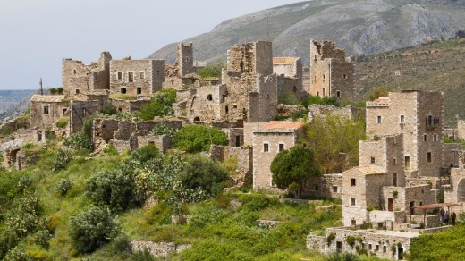 The old traditional settlement of Vathia, in the area of Mani, southern Greece.