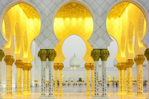 Arches surrounding the central courtyard of Sheikh Zayed Grand Mosque, Abu Dhabi.