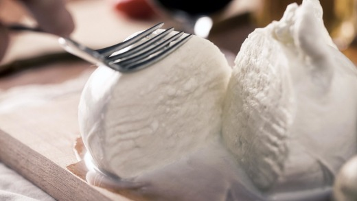 Buffalo mozzarella from the dairy.