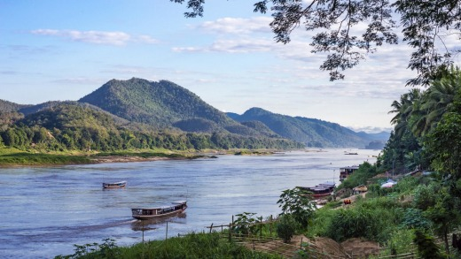 The Mekong River and mountain views in Luang Prabang, home to Laos Buffalo Dairy.