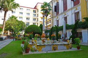 The courtyard at Kathmandu Guest House, which is a boutique hotel that remains committed to budget travellers.