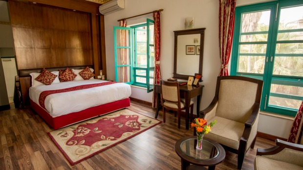 A deluxe room at the Kathmandu Guest House.