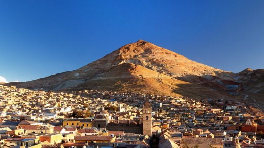 Potosi, Bolivia and Cerro Rico, the mountain that made it rich.
