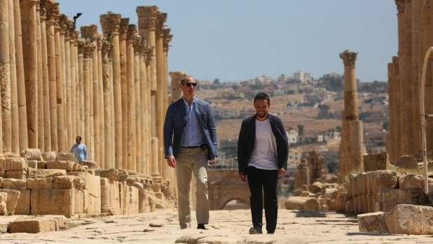 Britain's Prince William (left) and Jordan's Crown Prince Hussein tour the Jerash archaeological site.