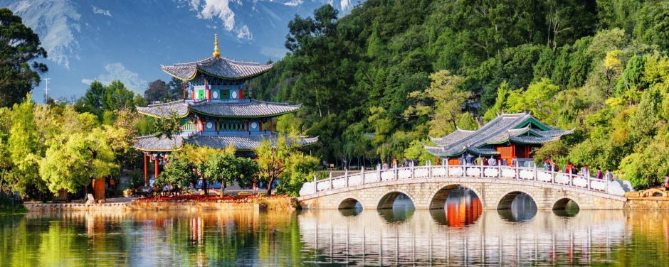 Amazing view of the Jade Dragon Snow Mountain and the Black Dragon Pool, Lijiang, Yunnan province, China. The Suocui ...
